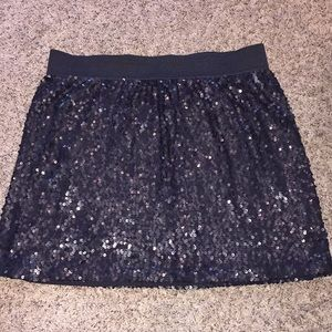 LC Lauren Conrad Sequin Black Mini Skirt Size L
